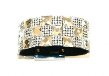 Diamante crystal bling cuff bracelet kit - 10mm faceted square glass+2mm diamante stone -- c4009036kit